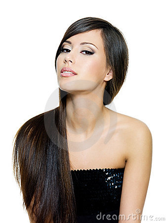 Beautiful brunette woman with long straight  hairs