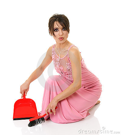 Beautiful brunette woman sweeping out