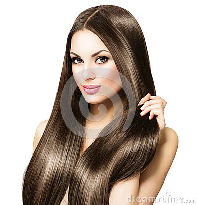 Free Beautiful Brunette Woman Touching Her Long Hair Royalty Free Stock Photography - 54501287