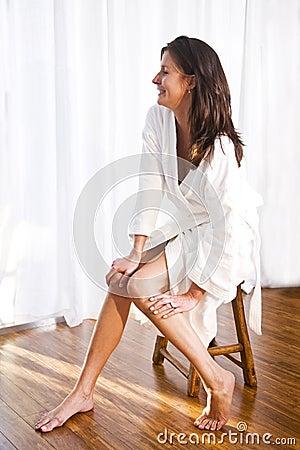 Free Beautiful Brunette Woman Wearing Bathrobe Royalty Free Stock Photos - 15050668