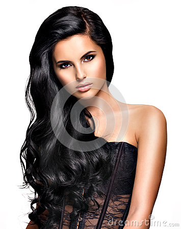 Free Beautiful Brunette Woman With Long Black  Hair Royalty Free Stock Photography - 38900327