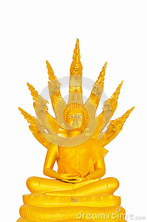 Beautiful Buddha image in Thailand a white background