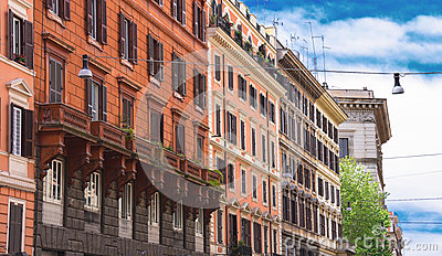 Beautiful Building In The Center Of Rome Italy Stock