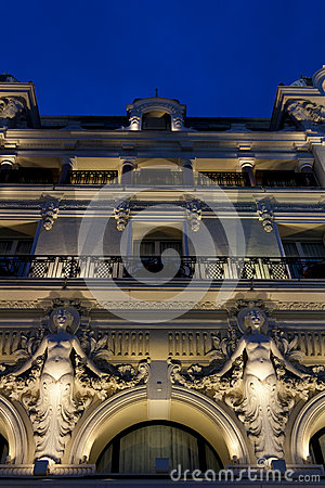 A beautiful building facade by night