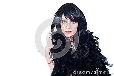 Beautiful burlesque brunette portrait