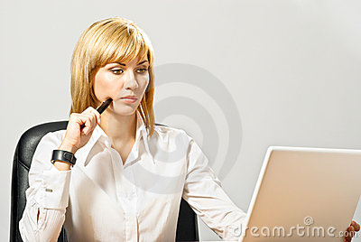 Beautiful Business Lady with Laptop