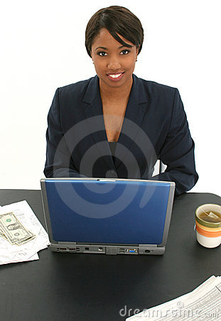Beautiful Business Woman with Bills and Cup of Tea