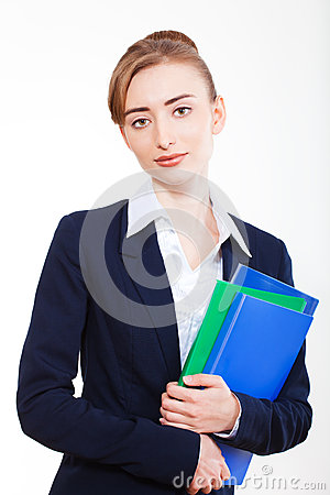 Beautiful  business woman with books