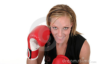 Beautiful Business Woman In Boxing Gloves 7b