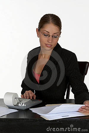 Beautiful Business Woman with Calculator