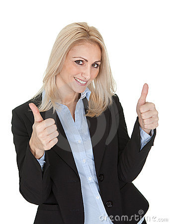 Beautiful business woman making a victory gesture