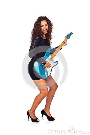 Beautiful Business Woman Playing Electric Guitar