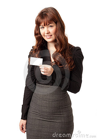 Beautiful business woman showing blank credit card