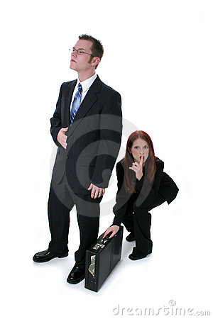 Free Beautiful Business Woman Stealing Briefcase Full Of Money Royalty Free Stock Photography - 150997