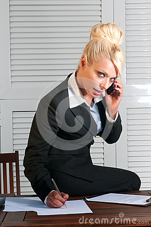 Beautiful businesswoman with computer