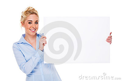 Beautiful Businesswoman Holding Blank Card Stock Photography - Image: 18228342