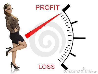 Beautiful businesswoman near profit loss meter