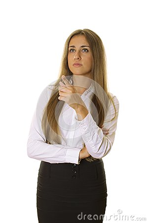Beautiful businesswoman pointing at copyspace
