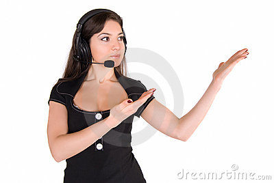 Beautiful businesswoman presenting something