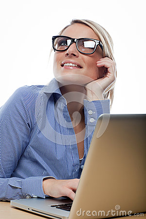 Beautiful businesswoman thinking deeply