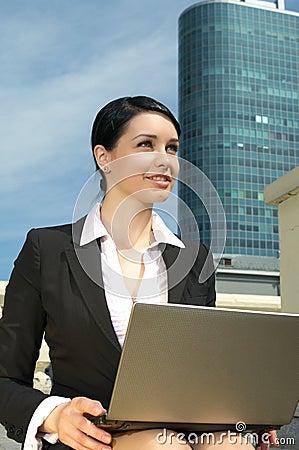 Beautiful businesswoman working Stock Photo