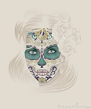 Beautiful Calavera Catrina or Sugar Skull Lady