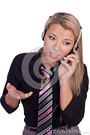 Beautiful call centre operator