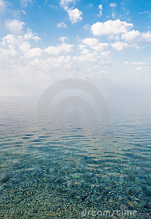 Beautiful calm sea under the blue sky