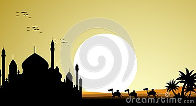 Beautiful camel trip silhouettes with mosque and giant moon background