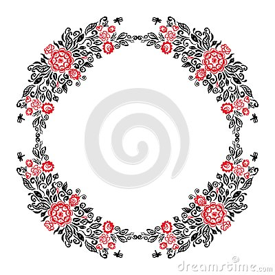 Free Beautiful Card With A Round Summer Wreath Of Different Flowers Folk Art Floral Ornament Vintage Elegant Wedding Invitation Red Bla Royalty Free Stock Image - 109723146