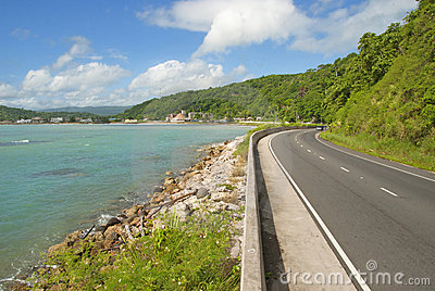 Beautiful caribbean coastal highway road