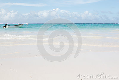 Beautiful caribbean sea with a speed boat