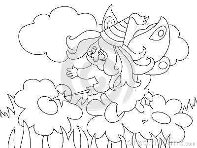 Magic Coloring Book Download Beautiful Cartoon Fairy On The Meadow For