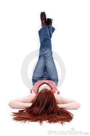 Free Beautiful Casual Teen Girl With Legs Resting On Wall Royalty Free Stock Photography - 147147