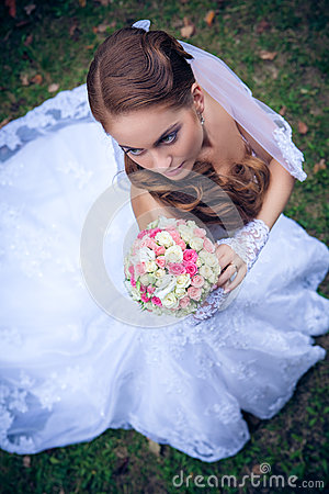 Beautiful caucasian bride outdoor
