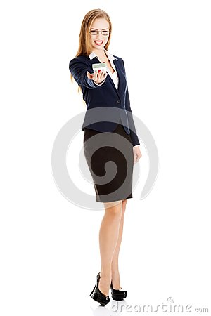 Free Beautiful Caucasian Business Woman Is Holding House Model. Stock Images - 108125194