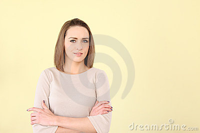 Beautiful caucasian woman arms crossed