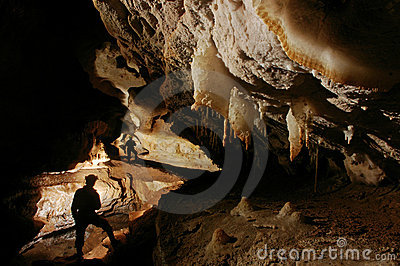 Beautiful cave passage with cavers