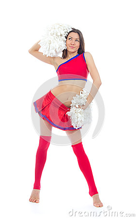 Beautiful cheerleader woman dancer girl