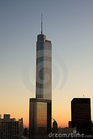 Beautiful Chicago skyline at dusk