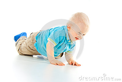 Beautiful child crawling on your knees