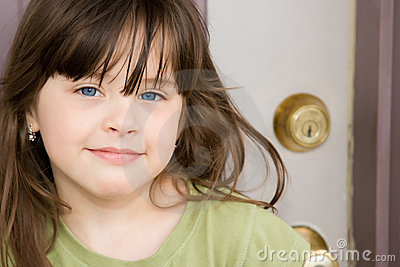 Beautiful Child at Front Door