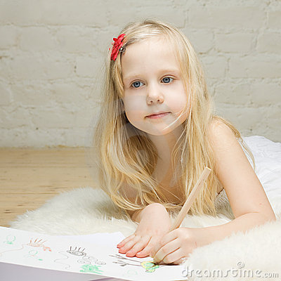 Beautiful Child Girl Paints