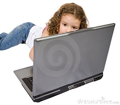Beautiful child using a laptop