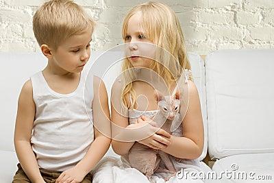Beautiful children talking