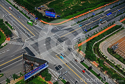 Open China city intersection Editorial Photo
