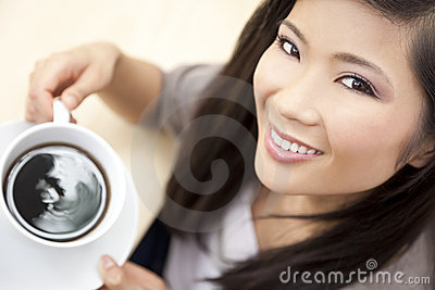Beautiful Chinese Asian Woman Drinking Tea Coffee