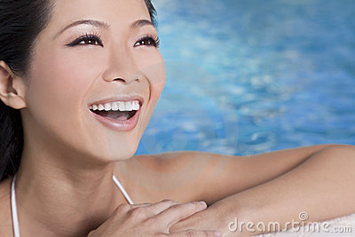 Beautiful Chinese Asian Woman In Swimming Pool
