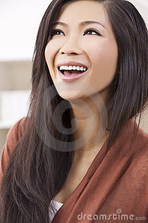 Beautiful Chinese Oriental Asian Woman Laughing