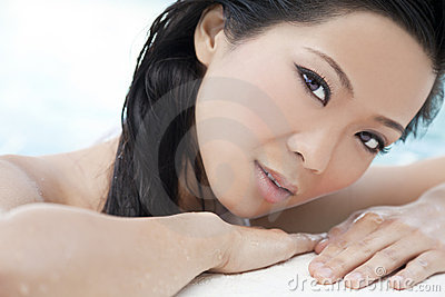 Beautiful Chinese Oriental Woman In Swimming Pool